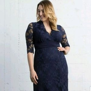 Kiyonna Screen Siren Lace Formal Dress in Navy